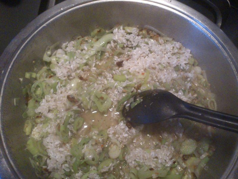 Łosoś z porem i ryżem