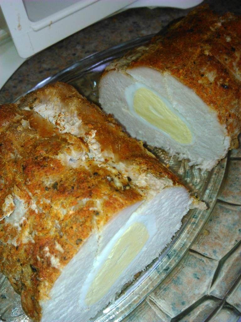 Paprykowa rolada schabowa z jajkiem