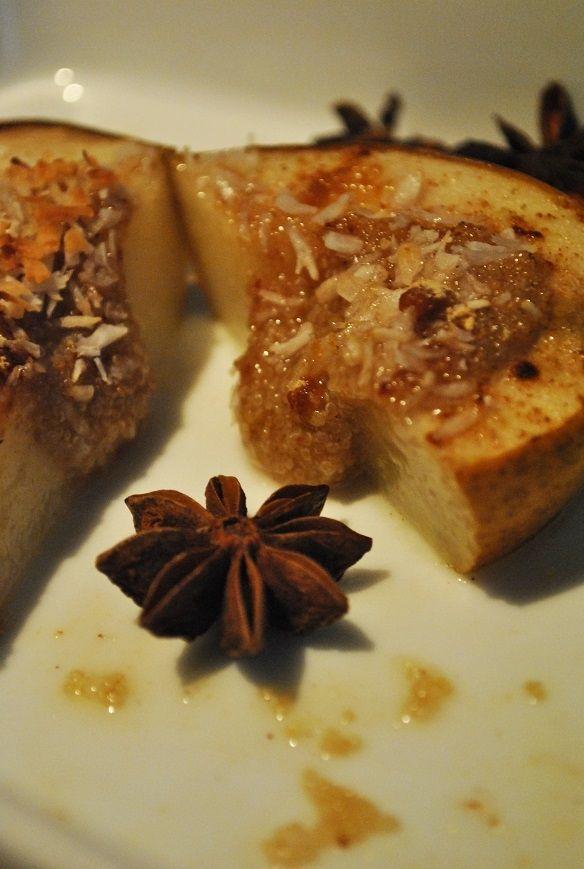 Pieczona gruszka z amarantusem