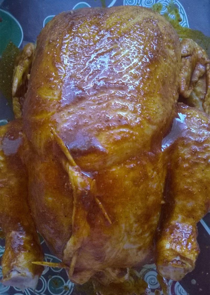 Pieczony kurczak z ryżem, soczewicą i susz. morelą