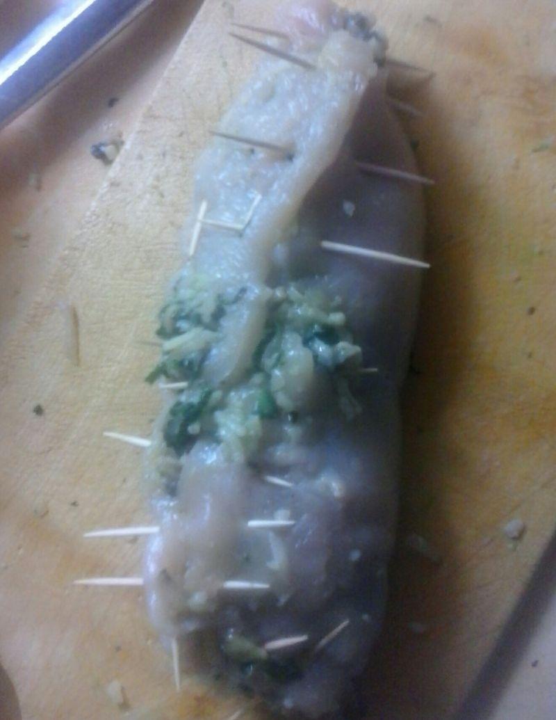 Pierś pieczona z szpinakiem, ryżem i pieczarkami