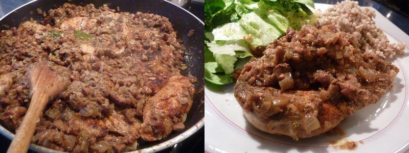 Pierś z kurczaka w sosie kurkowym i kaszą gryczaną