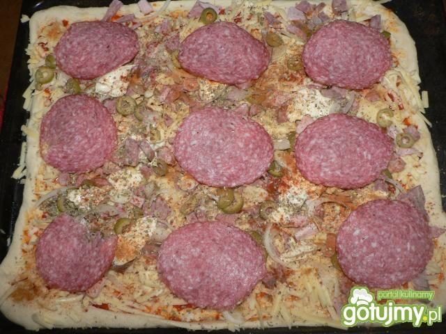 Pizza z kiełbasą i salami