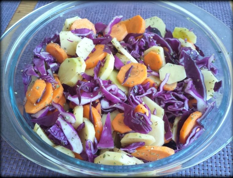 Przyprawione warzywa ugotowane na parze