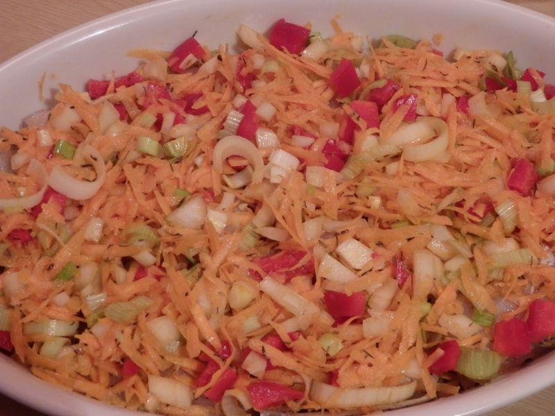Ryba pieczona z warzywami