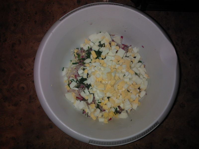 Sałatka z jajkiem,rzodkiewką i serem