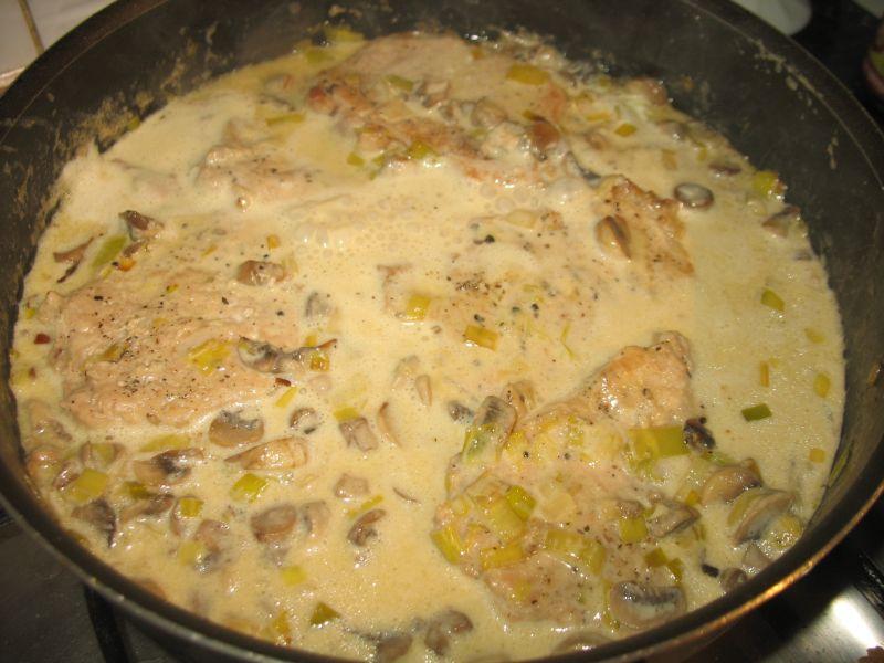 Schab w sosie pieczarkowo - porowym