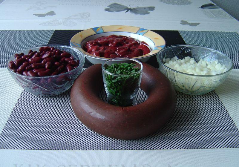Smażona kaszanka z wątróbką i czerwoną fasolą