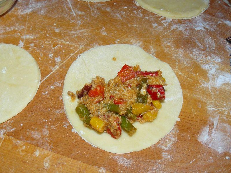 Smażone pierożki z kurczakiem i warzywami