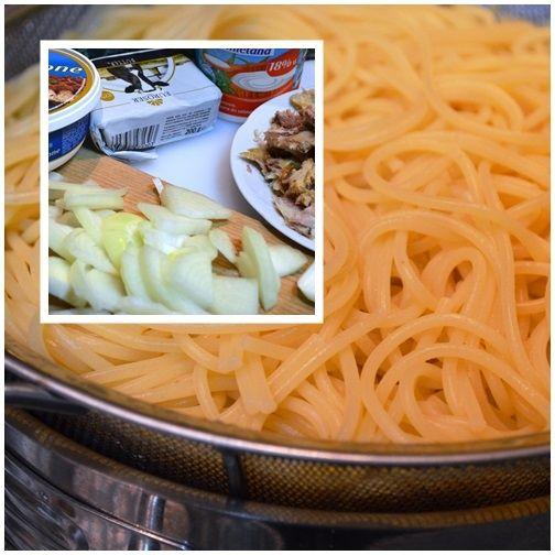 Spaghetti z sosem z wędzoną makrelą