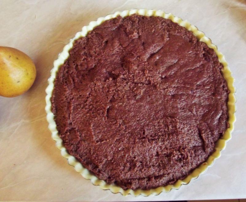 Tarta gruszkowa na czekoladowej kaszy mannie