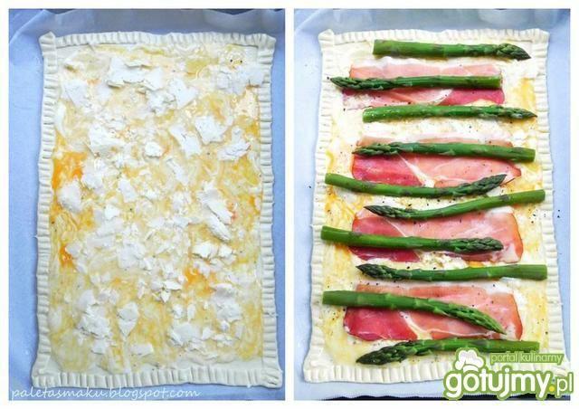Tarta z szynką, szparagami i kozim serem