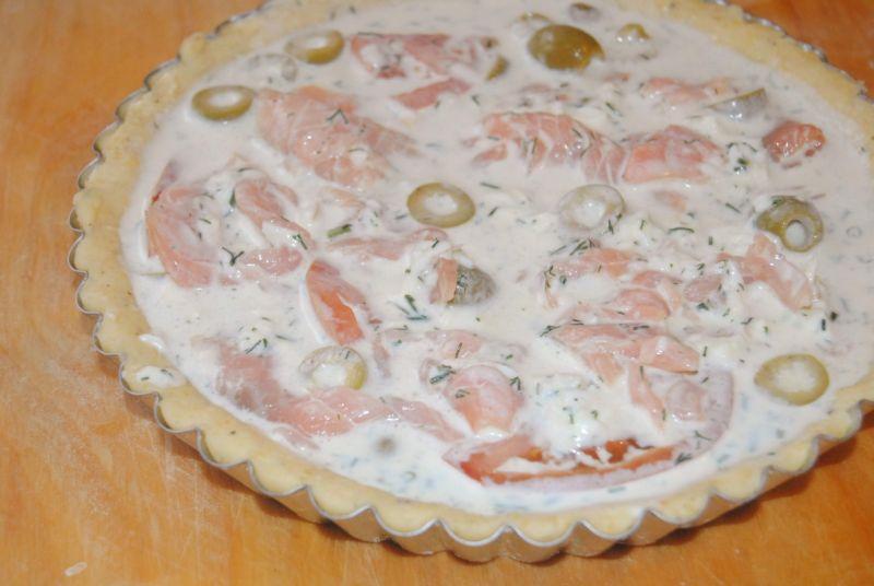 Tarta z wędzonym łososiem