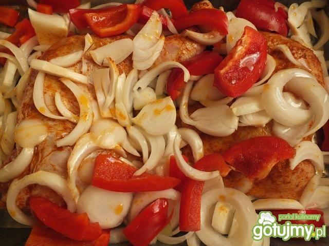 Udka z papryką i pomidorami