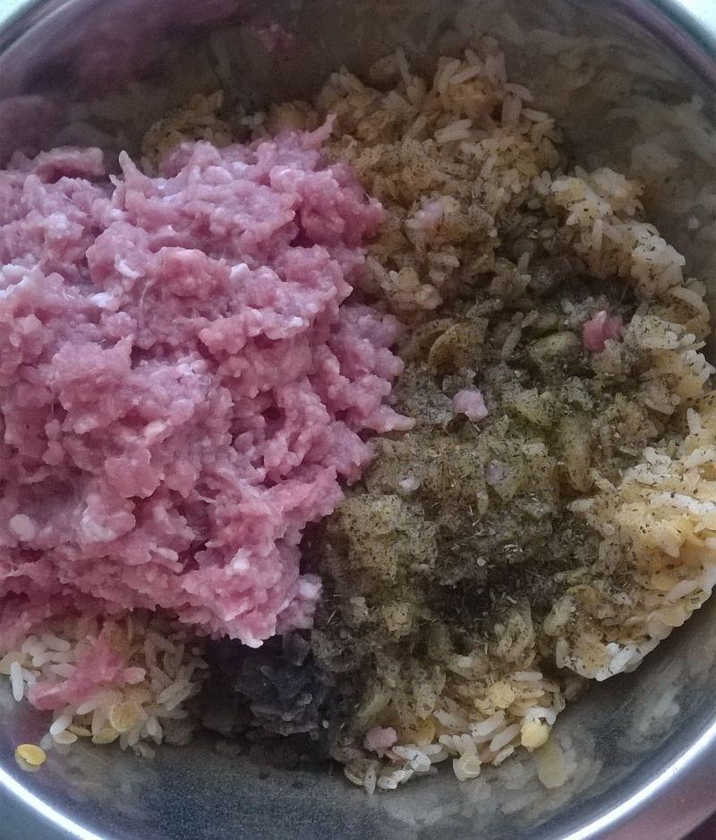 Zapiekane papryki z soczewicą, ryżem, mięsem miel.
