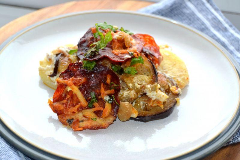 Zapiekanka z ziemniakami, bakłażanem oraz chorizo