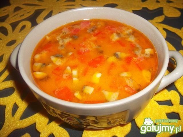 Zupa z kawałkami kurczaka
