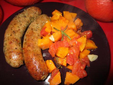 Biała kiełbasa z dynią i pomidorami