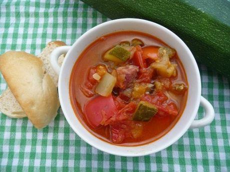 Leczo z cukinii i pomidorów malinowych