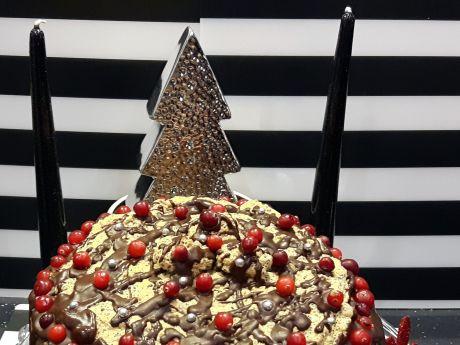 Świąteczny tort makowy z masą piernikową i bezą - Świąteczny tort makowy z żurawiną, masą piernikową i bezą makową w całości
