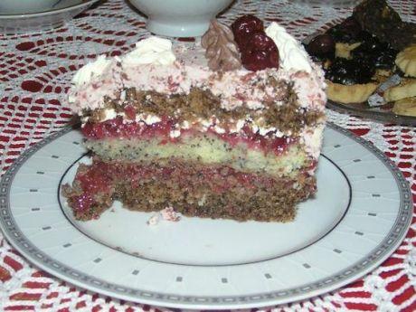 Tort z kakao, makiem i wisniami