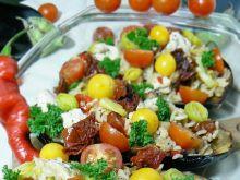 Bakłażan zapkiekany z ryżem  i kurczakiem