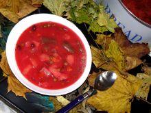 Barszcz warzywny na oleju chili, czosnek