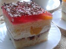Biszkoptowe ciasto z brzoskwiniami i galaretką