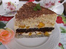 Biszkoptowy tort z masą budyniowo-brzoskwiniową