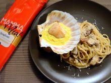 Borowiki, małże św.Jakuba, gorgonzola i szafran