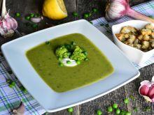 Brokułowy krem z zielonym groszkiem i szczypiorkie
