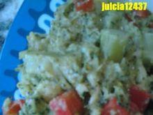 Brokuły z papryką i serkiem topionym