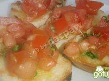 Bruschetta z olejem lnianym i rzeżuchą