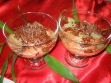 Budyn ryzowy z gruszkami i czekolada