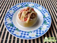 Cebula zapiekana z ryżem i parówkami