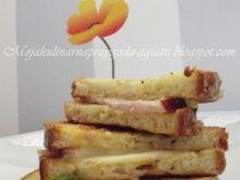 Chleb w jajku z szynką i serem smażony