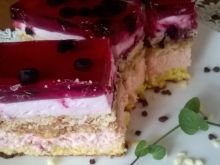 Ciasto 3 bit o smaku jagodowym z galaretką