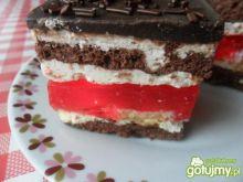 Ciasto biszkoptowe z galaretką i kremem