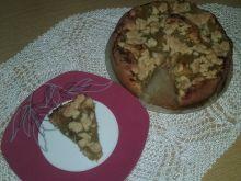 Ciasto biszkoptowo-rabarbarowe z kruszonką