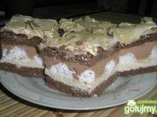 Ciasto chałwowo-czekoladowe z bezikami.
