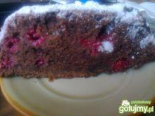 Ciasto czekoladowe z malinami.