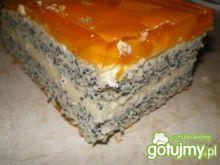 Ciasto makowe z kremem i galaretką
