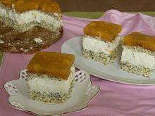 Ciasto makowe z serem i brzoskwiniami