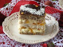 Ciasto orzechowo-kokosowe z kremem brzoskwiniowym