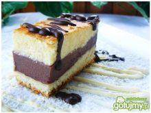 Ciasto waniliowe z budyniem czekoladowym
