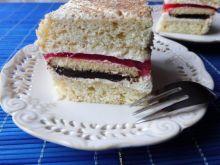 Ciasto z delicjami, galaretką i kremem