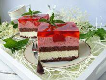Ciasto z kremem budyniowym i truskawkowym musem