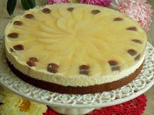 Ciasto z kremem i gruszkami w winnej galaretce