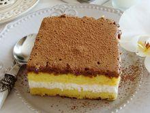 Ciasto z kremem limonkowym i czekoladowym musem