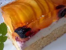 Ciasto z masą serową, owocami i galaretką